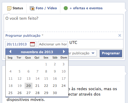 Facebook Calendário