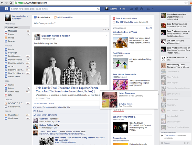 Novo design Newsfeed