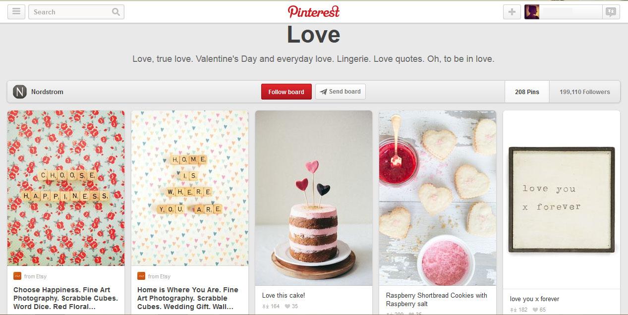 Painel da Nordstrom para o Valentine's Day - falando de amor e não de seus produtos