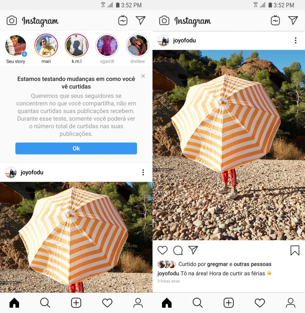 Instagram remove contagem de curtidas no feed.